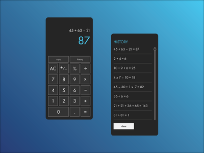 Daily UI 4: Calculator minimal app ui design