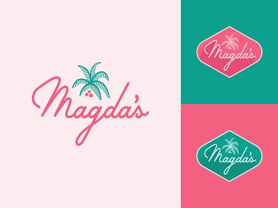 Magda's sweets coffee logo script palm magda