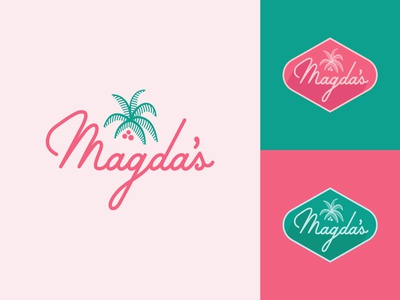 Magda's sweets coffee logo script palm magda
