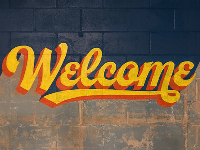 Welcome welcome script paint type