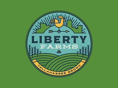 Liberty Farms logo weathervane rooster bee monoline farm urban