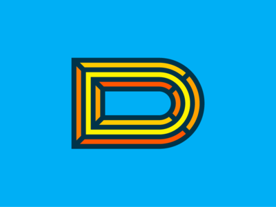 Faceted D thick lines d vector logo