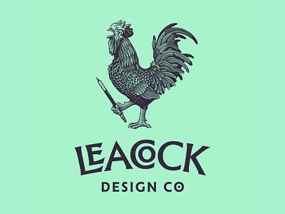 Leacock Design Co. illustration pencil rooster interlocking mark logo
