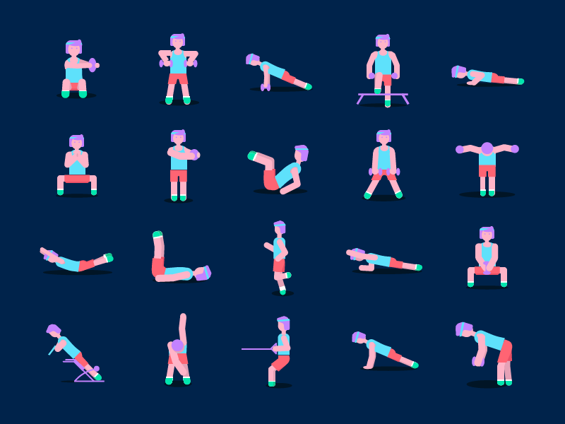 Icons for a Fitness App adobe illustrator great shape pushups illustration squat pump fitness getfit workout gym muscles exercises