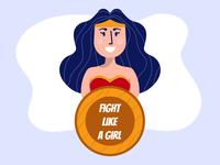 Superhero girl calling for girlish fight