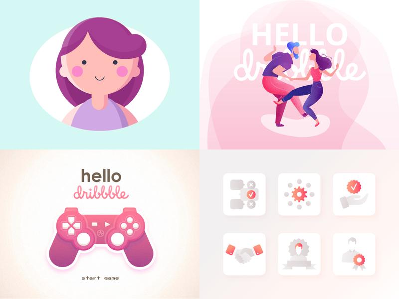Top 4 Shots on Dribbble favourite top 4 top gradient light girl icon hello dribbble hello illustration top4shots