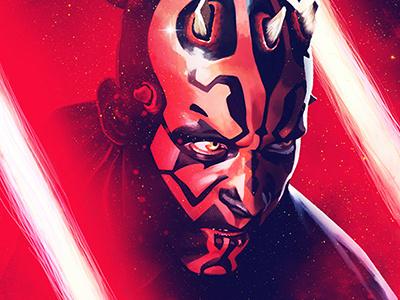 Star Wars illustration digital painting digital arts star wars darth maul
