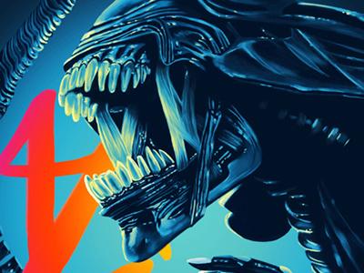 Alien movie illustration digital painting digital arts alien