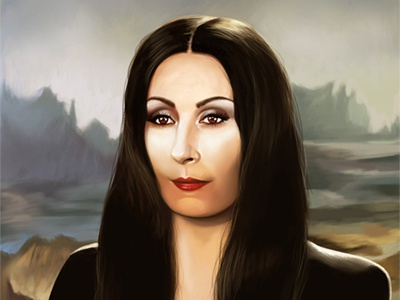 Morticia Addams morticia addams portrait illustration movie poster digital arts digital painting