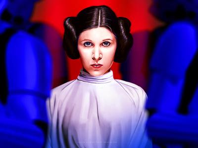 Star Wars IV - A new Hope star wars illustration cinema movie leia pop portrait digital painting digital arts