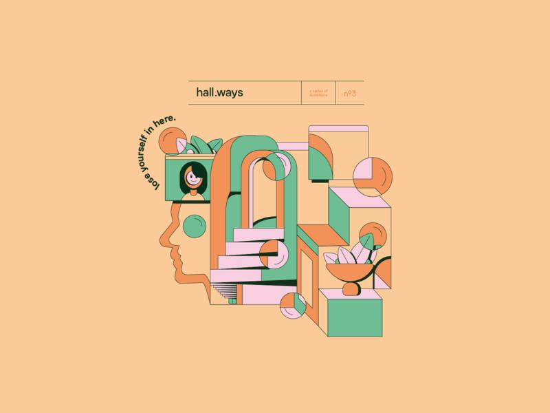Hall Ways poster vector illustration design