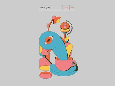 05 FaceYou flat poster vector illustration design