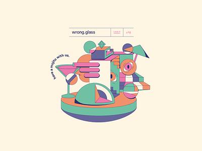 07 WrongGlass flat poster vector illustration design