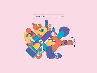 08 SomeTubes flat poster vector illustration design