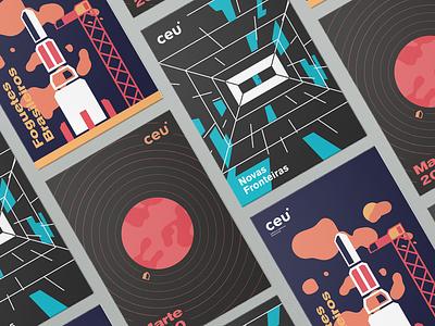 Ceu - Agência Espacial Brasileira flat poster illustration branding logo design