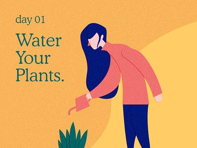 Watering Girl flat vector poster illustration design