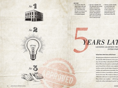5 Years Later - Magazine Feature in ACC Magazine - May spread woodcut patents feature magazine