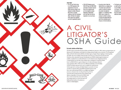 OSHA Guide - Feature done for ACC Magazine - May spread osha patents feature magazine