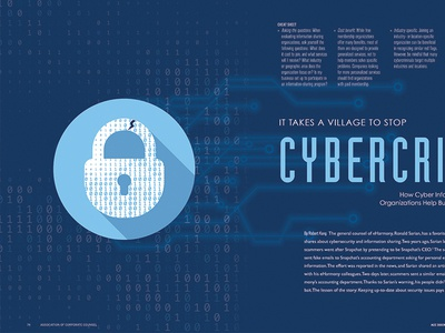 Cybercrimes - A Feature done for ACC Magazine - May indesign spread cybercrimes patents feature magazine