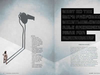 Whistleblower Article for ACC Docket Jan-Feb 2019 illustration typography spread magazine ad magazine