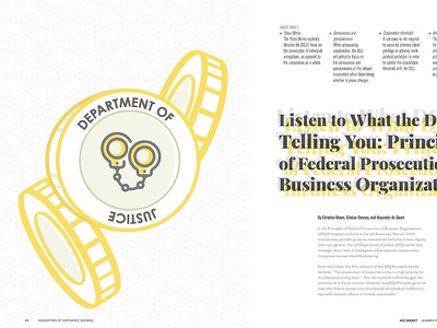DOJ Article for ACC Docket Jan-Feb 2019 doj lawyer business vector feature article design illustration icon logo spread magazine