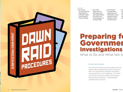 Dawn Raid Article for ACC Docket Jan-Feb 2019 branding design lawyer vector business article illustration icon spread typography feature magazine