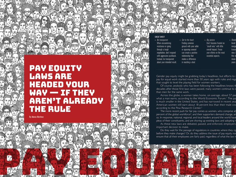 ACC Docket April 2019 - Pay Equality Feature lawyer connections article design illustration spread typography feature magazine