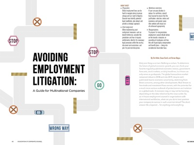 ACC Docket May Feature, Avoiding Litigation - 2019 business green icon vector lawyer article design spread illustration typography feature magazine