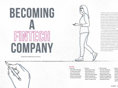 ACC Docket May Feature, FINTECH- 2019 branding lawyer business vector design article illustration spread typography feature magazine
