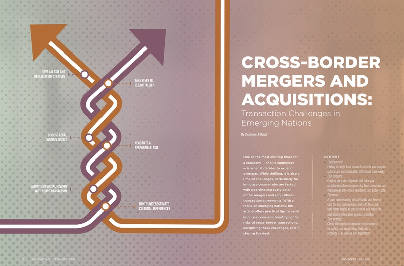 Cross-Border feature for ACC Docket Magazine - June 2019 spread vector lawyer business article design illustration feature typography magazine