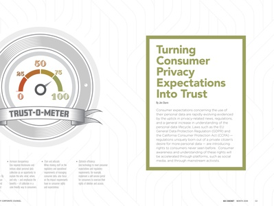 Privacy Expectations Article for ACC Docket December 2020 layout lawyer business logo icon article design illustration spread typography feature magazine