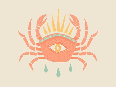Hold Onto Hope debut shot first shot hello dribbble debut welcome shot americana mexicana tattoo tattoo idea sunrays rays hope crab flat flat illustration illustration