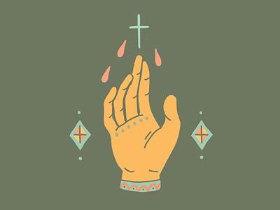 Intentions tattoo idea magick religion religious mexicana americana spiritual catholic cross hand praying flat illustration illustration