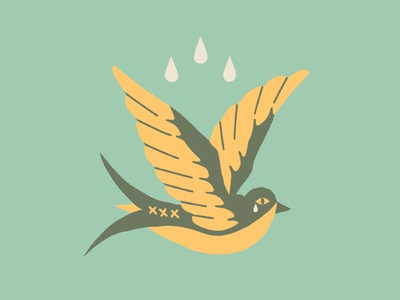 This Too Shall Pass fly tears cry bird sparrow flat tattoo idea mexicana illustration flat illustration americana