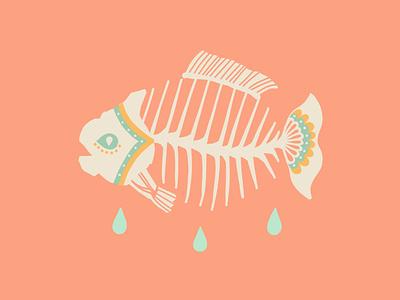 I'm ok skull drops tattoo flat tattoo idea mexicana illustration flat illustration americana dead skeleton fish