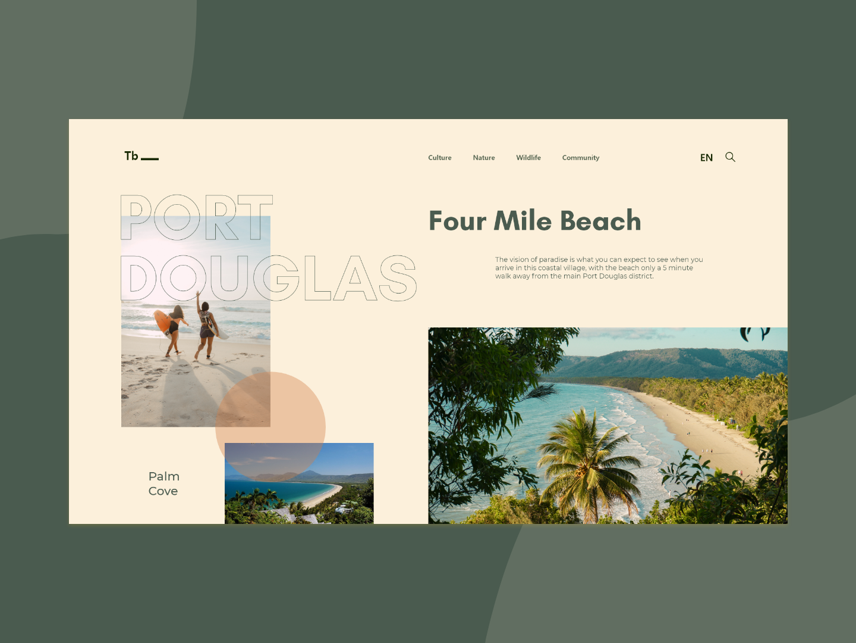 Travel Port Douglas - Landing Page page sea layout vacation uiux ui webdesign design australia beach travel blog landing page web