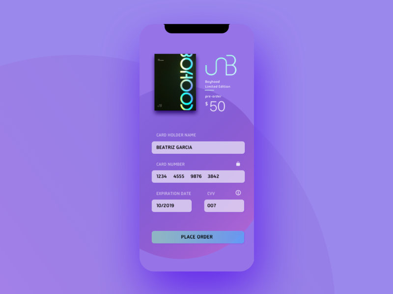 Daily UI #002 | Credit Card Checkout | Album Pre-order by Beatriz