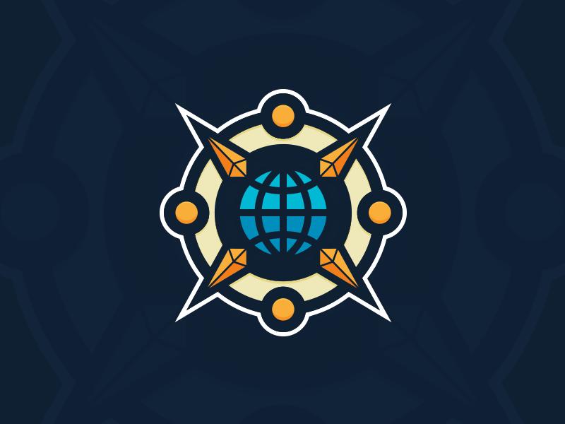 GinoSekai world globe bright fun japanese circle logo blue gaming compass