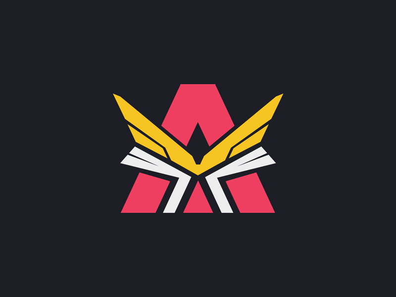 A + Wings Letter Logo Design a letter a wings artist organization designer clothing apparel brand game sports logotype logo identity esports branding gaming