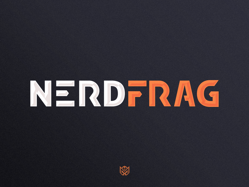 NerdFrag Lettermark text logo lettermark typography badge bomb sports brand grenade frag nerd game logotype logo identity esports branding gaming