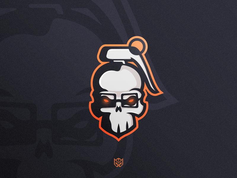 NerdFrag Logo Icon sports logo mascot logo mascot skull nade grenade frag design illustration apparel brand sports game logotype logo identity esports branding gaming