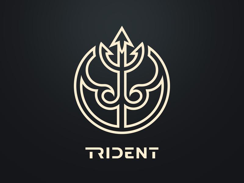 Trident brand water ocean up icon waves design identity branding logotype logo trident