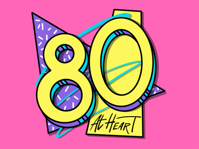 80 at Heart typography design procreate illustration 1980s 80s