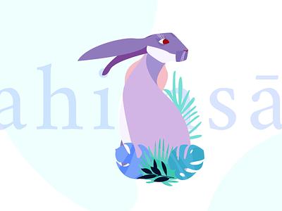 Ahimsā | Storytelling vectorillustrator vectorillustration rabbit icon typography ux vector ui uxdesign uidesign pastel illustration flowers
