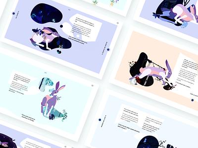 Ahimsā | Storytelling rabbit uiux uiscreen ux ui icon branding bloc uxdesign uidesign pastel illustration flowers