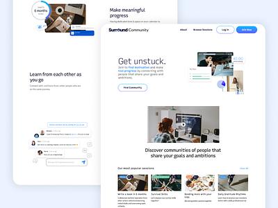 Surround Community website landing page brand design accountability progress surround community headway startup hack-a-thon hack