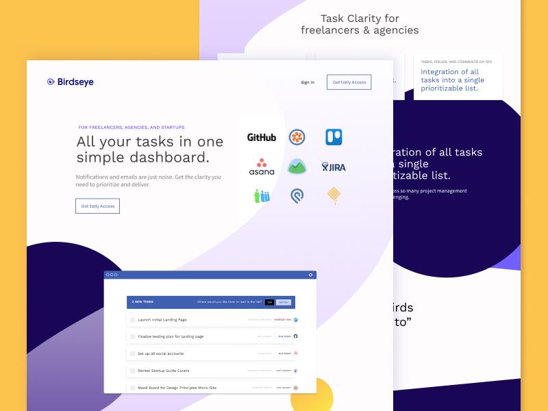 Birdseye Marketing Site task management saas startups development website