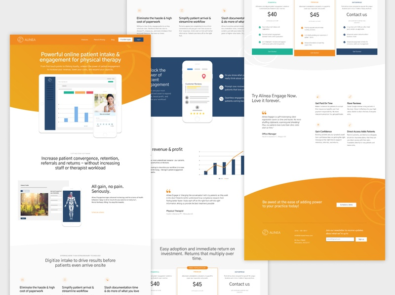 Alinea Website physical therapy medical brand figma webflow landing page hero website health