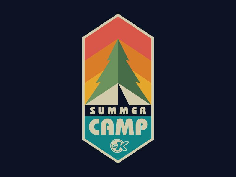 SK Summer Camp Logo kids saddleback arrows badge upward tree tent camping camp summer