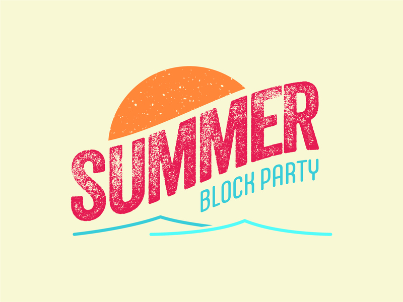 Summer Block Party logo block party hot weathered waves sun summer